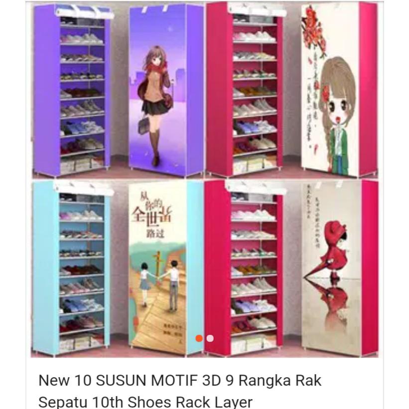 New 10 SUSUN MOTIF 3D 9 Rangka Rak Sepatu 10th Shoes Rack Layer | Shopee Indonesia
