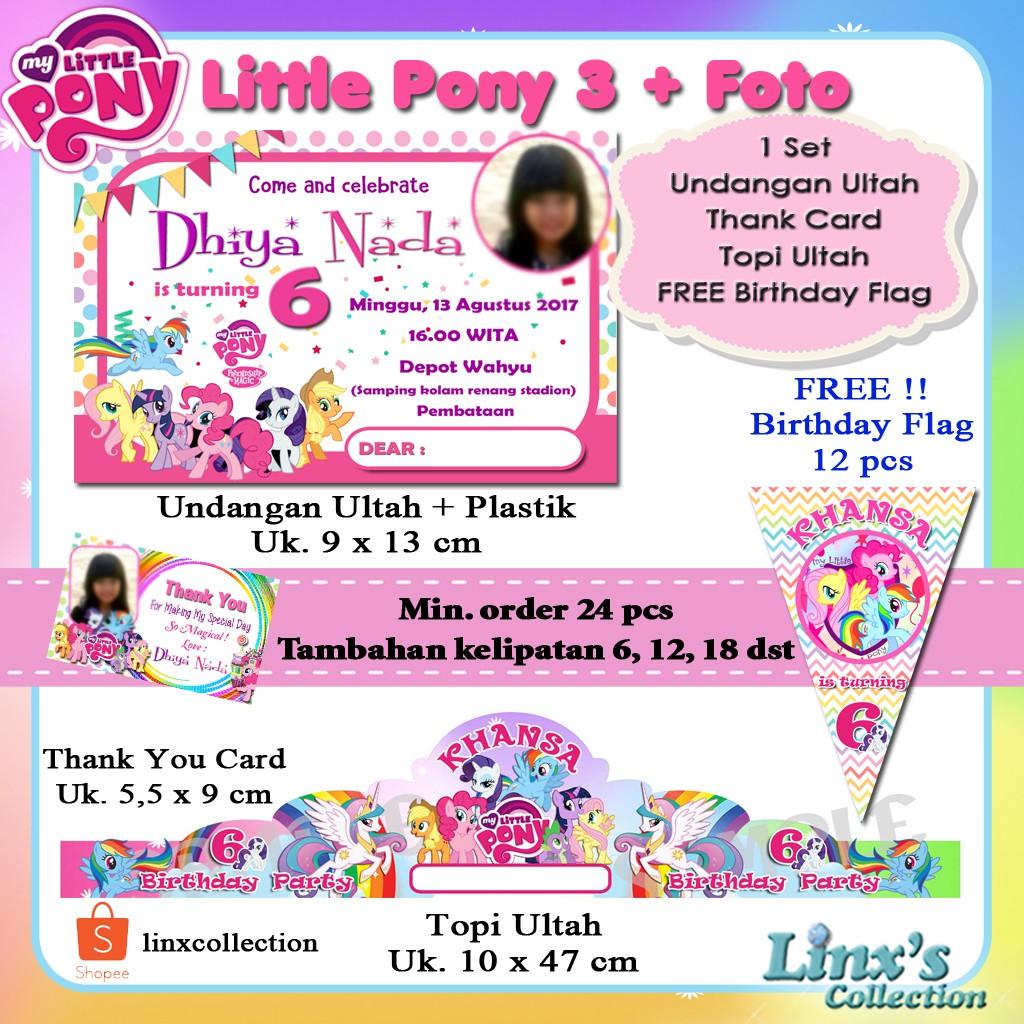 1 Set Undangan Ultah Anak Kartu Souvenir Topi Ulang Tahun My Little Pony Shopee Indonesia