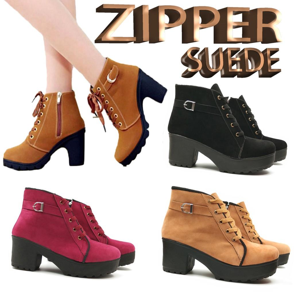 ... ESTORE Sepatu Boots Wanita Zipper Suede BD47 | Boot Cewek Hitam Maroon Tan ...