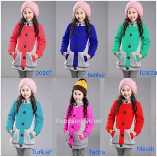 Jaket Anak Perempuan - Hello Kitty Warna Biru Hijau Merah Fanta - Ukuran Untuk Anak 4 5 6 7 Tahun