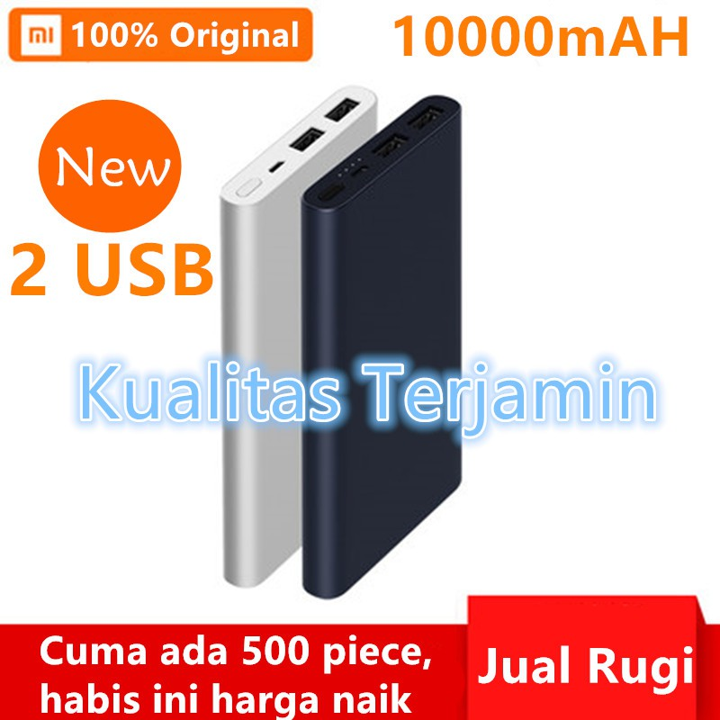 Powerbank Xiaomi Mi 2 New 10000mAh 2 port 2 USB Tahan Lama 100%Original Charger handphone | Shopee Indonesia