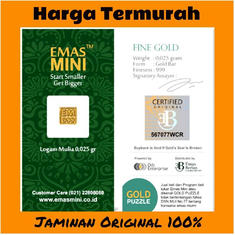 Emas Mini 0,025 Gram / Mini Gold 0,025 Gram / Logam Mulia Antam 0,025 Gram