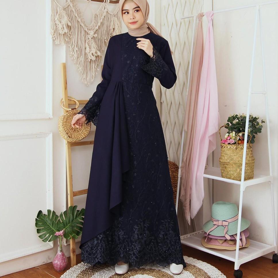 Gratis Gamis Mafaza Brokat TilLe Bordir Maxi Dress Lebaran Brukat Tulle  Baju Muslim 9 warna ::