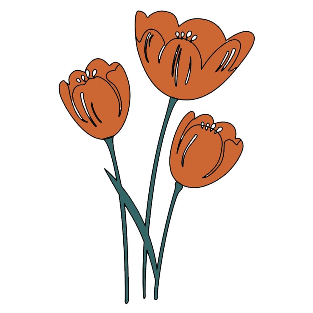 Diy Stensil Jenis Cutting Dies Dengan Bahan Logam Dan Gambar Bunga Tulip Untuk Scrapbook Shopee Indonesia
