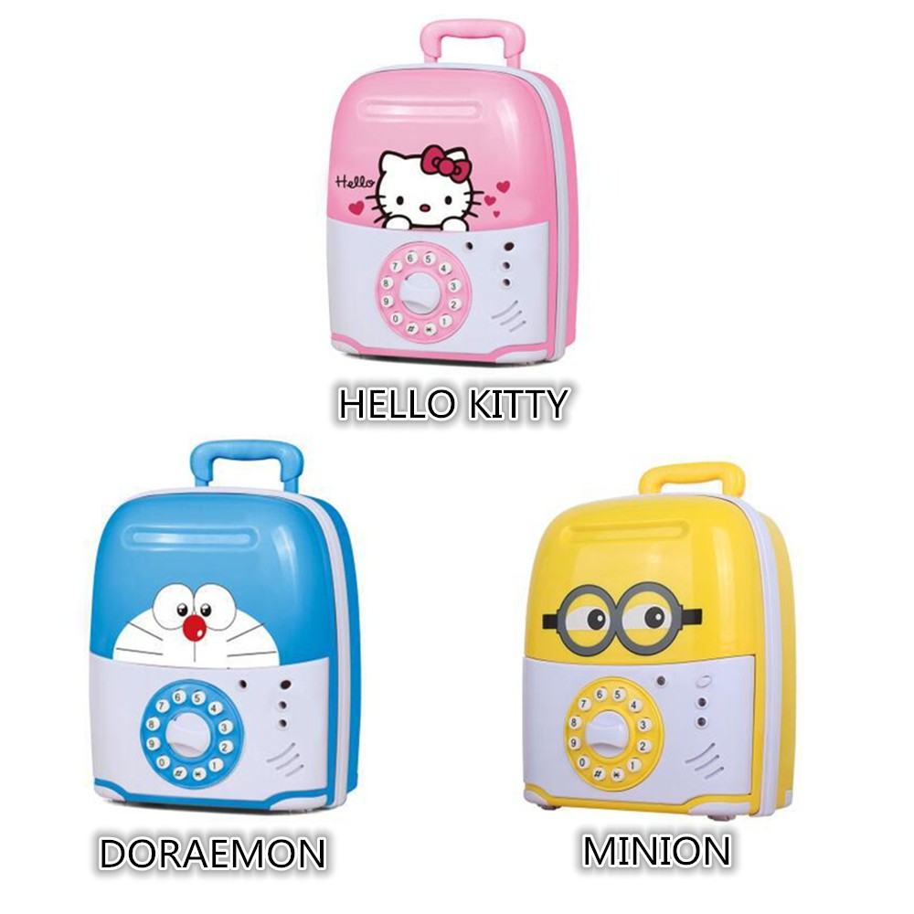 Celengan Brankas Doraemon Hello Kitty Atm Box Uang Hellokitty Pink Money Saving Mainan Anak Shopee Indonesia