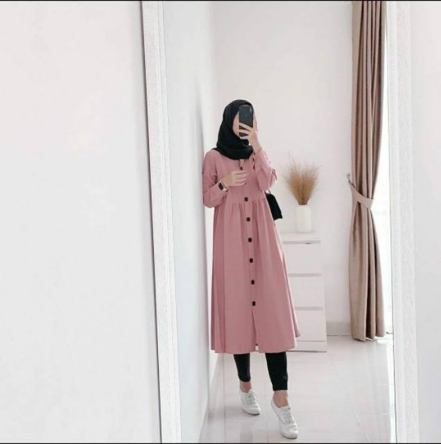 TUNIK DZUVIA KANCING HIDUP SYARI MOSCREPE PREMIUM | Shopee Indonesia