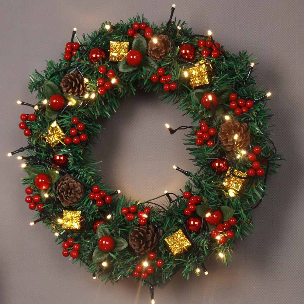 Bola Natal Karangan Bunga Pintu Hiasan Dinding Dekorasi Garland