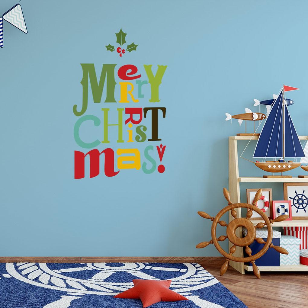 DIY Stiker Dinding Dengan Bahan PVC Dan Gambar Kartun Warna Warni Untuk Dekorasi Natal