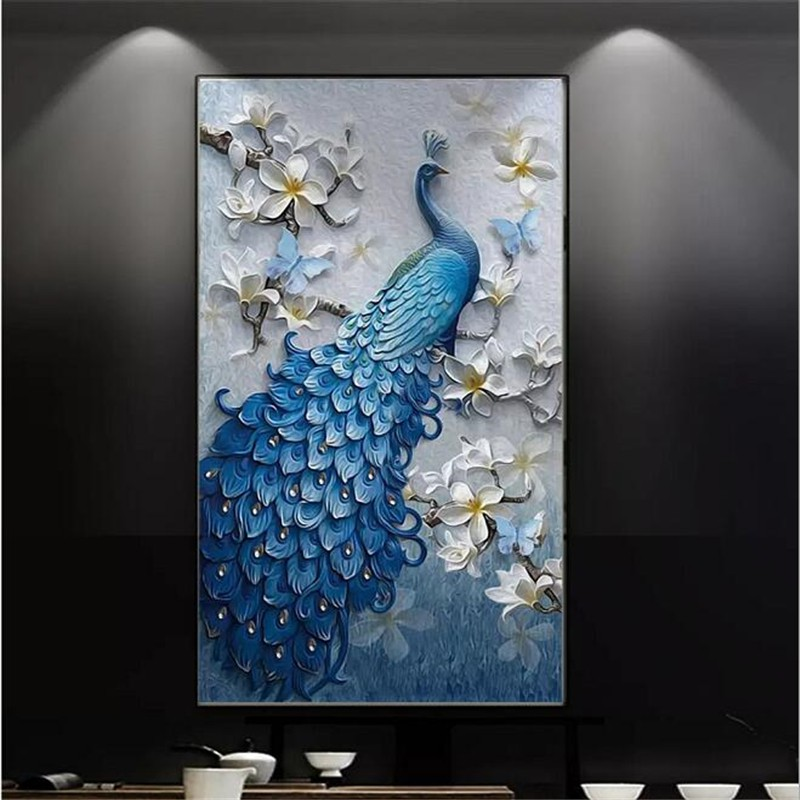 Beibehang Custom Wallpaper 3d Photo Mural Modern Fresh Embossed Oil Painting Peacock Porch Tv Shopee Indonesia