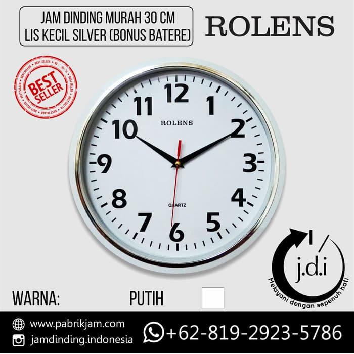 Jam Dinding Rolens Murah Diameter 30 cm Lis Kecil Silver (Bonus Batere ABC)   922ee2093c