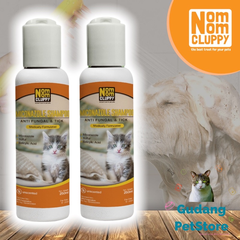 Shampoo Obat Miconazole NOM NOM CLUPPY jamur kutu melembutkan mengembangkan bulu kucing anjing-1