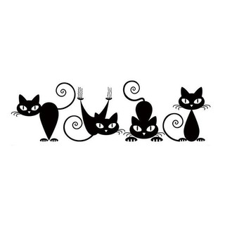 ♥『BOU』♥Cats Printed PVC Waterproof Removable Self-adhesive Wall Stickers Home Decor