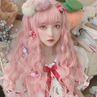 Perempuan Wig Rambut Keriting Panjang Merah Muda Muda Lolita Lucu Poni Udara Rambut Panjang Serat Sintetis Wig thumbnail