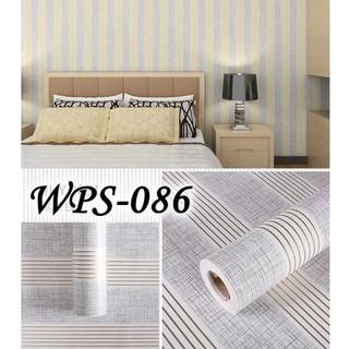 wallpaper sticker garis biru abu gold dekorasi dinding