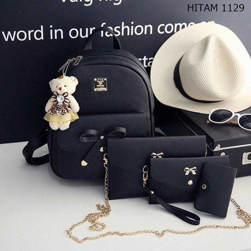 set 3 tas ransel backpack sekolah kuliah kantor kerja wanita kulit hitam  abu murah promo import T159  17f62281ab