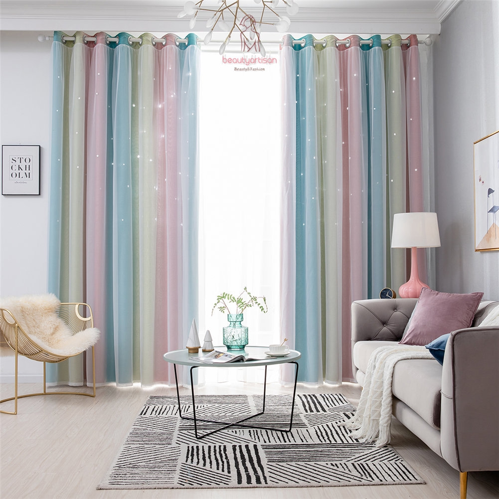modern double layer blackout curtains star cutout window curtain for living  room bedroom home decor