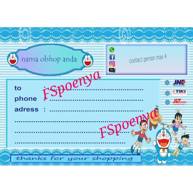 Stiker Pengiriman Label Alamat Kirim Olshop Doraemon