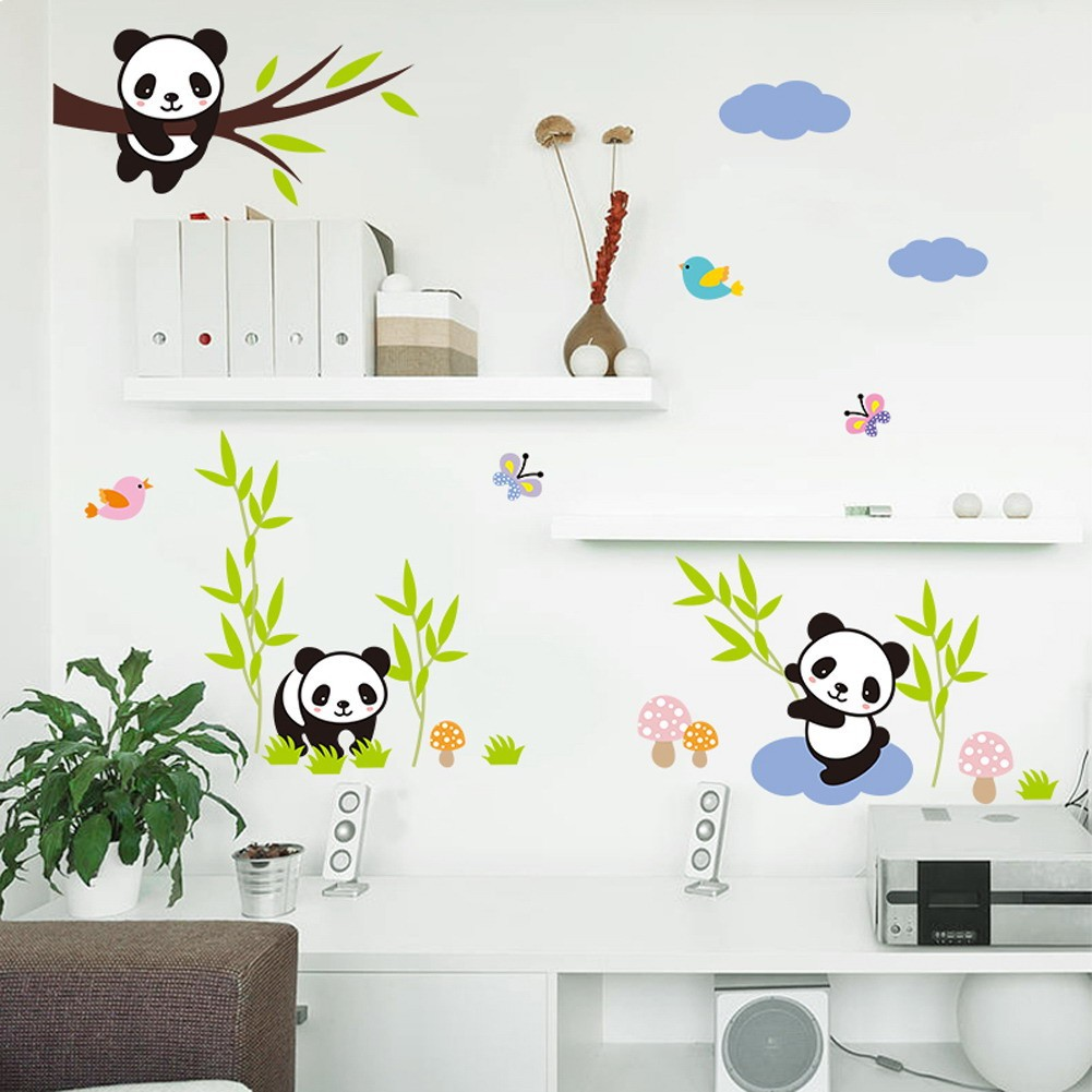[Bayar Di Tempat]Stiker Dinding Kartun Panda Decal Dekorasi Ruangan Rumah DIY Mudah Dilepas
