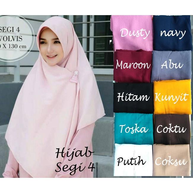 Jilbab/hijab 130x130 segiempat wolfis | square wolfis | wolfis segi empat khimar jumbo syari | Shopee Indonesia