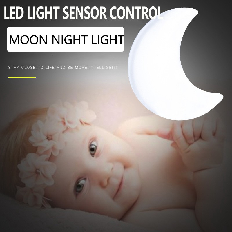 Cute Crescent Moon Led Light Sensor Control Night Light Ac110 220v Us Plug Socket Bedside Wall Lamp For Children Kids Intelligent Night Lamp 3 Color Ready Stock Shopee Indonesia