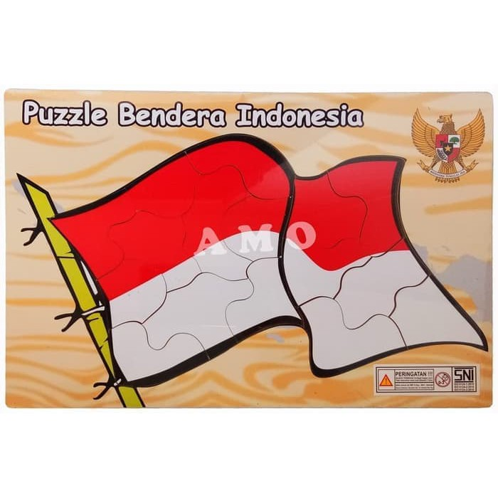 Ruditoys 082 Puzzle Kayu Bendera Indonesia Merah Putih Shopee Indonesia