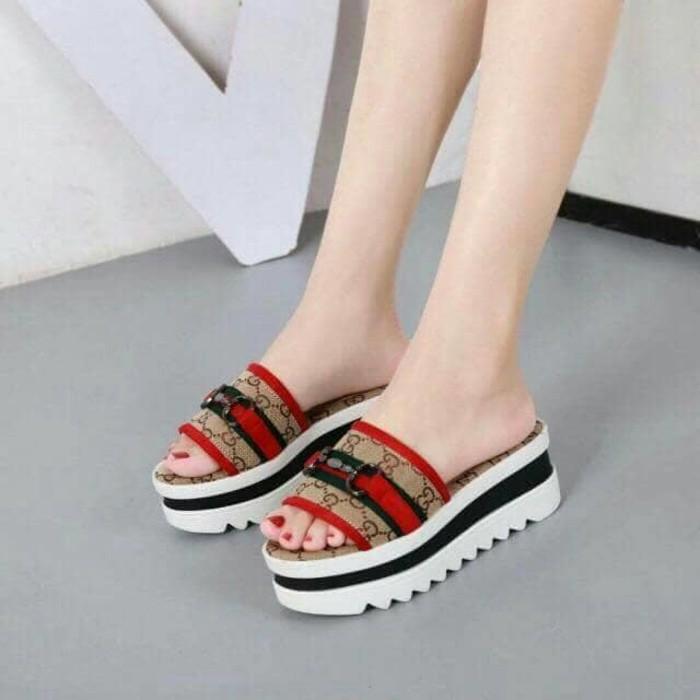 INDOSHOPZ LUBELY NV03 sandal WEDGES WANITA PLATFORM TALI DOCMART hitam pink  krem  26e56a42ae