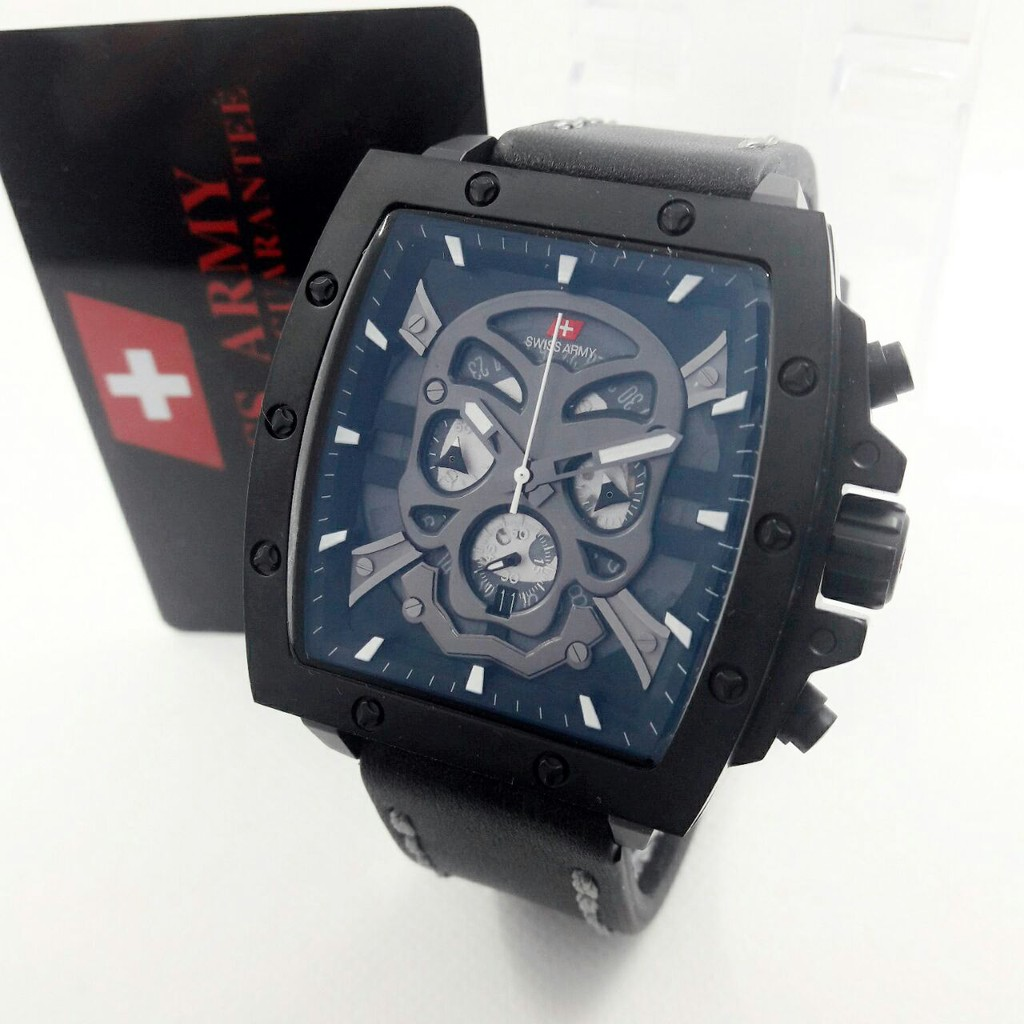 Jam Pria Swiss Army 2289 Silver Leather Original  d126bd2fa1