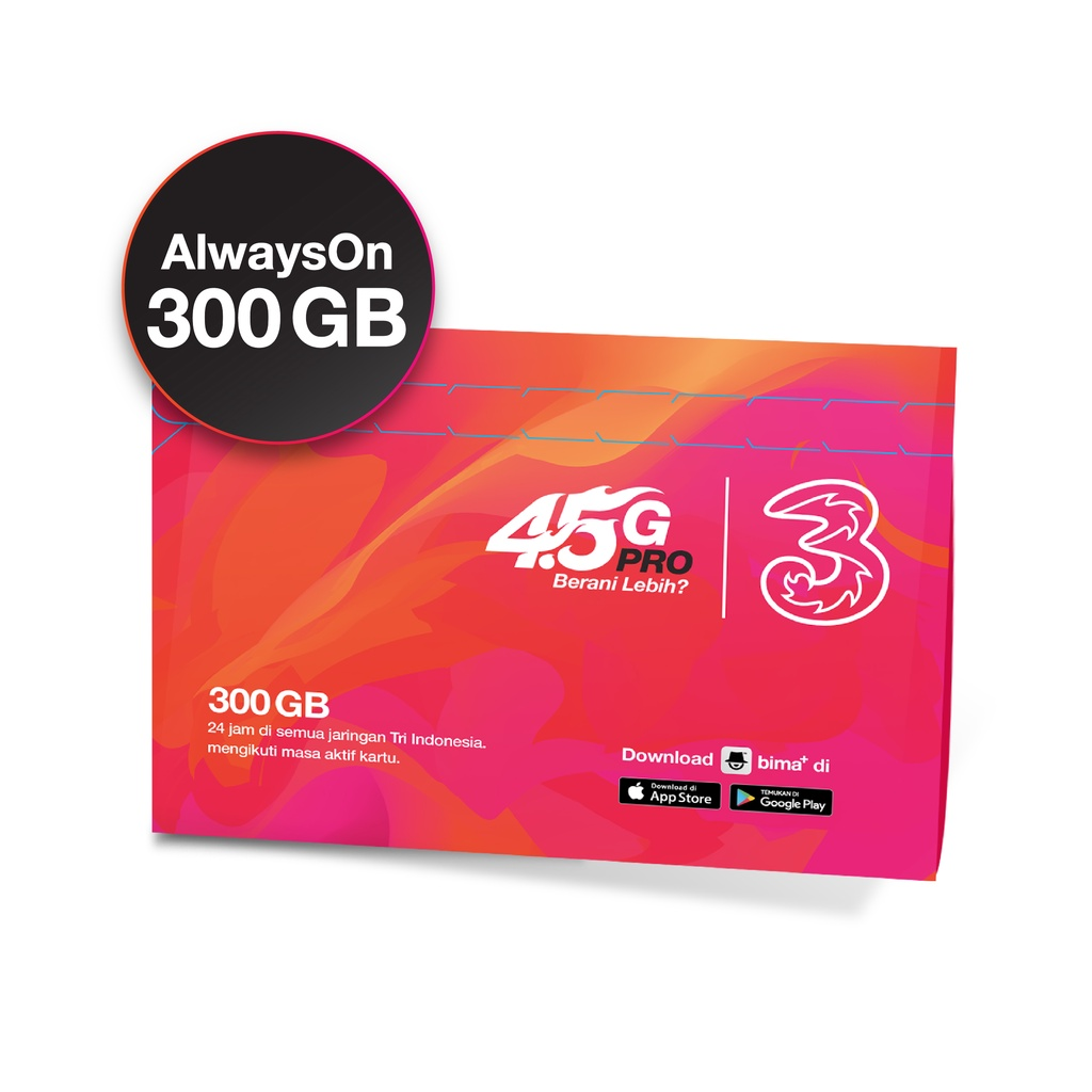 Kartu perdana Tri AON 300GB