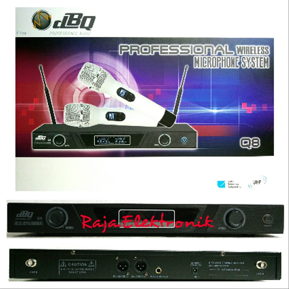 MIC WIRELESS DBQ Q8 UHF PROFESSIONAL AUDIO MICROPHONE TWO CHANNEL