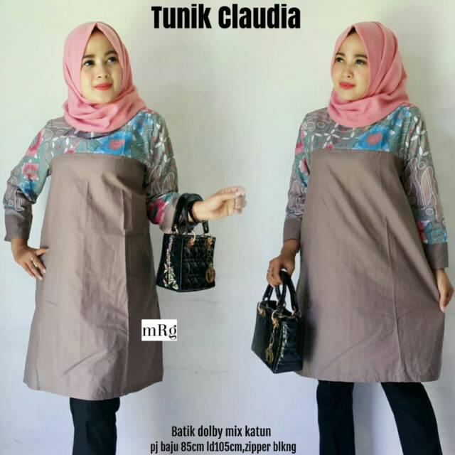 Tunik Kombinasi Polos Tunik Batik Murah Atasan Muslim Tunik Batik Modern