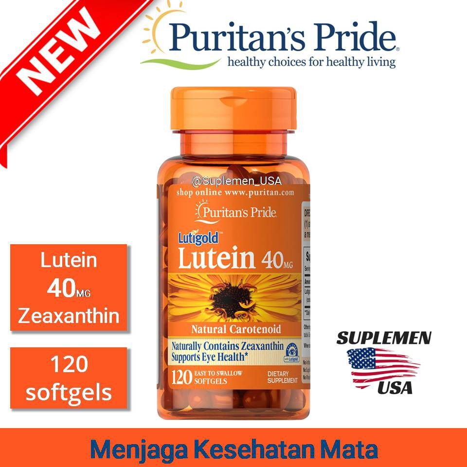 Puritan Pride Lutein 20 mg 40 mg Vitamin Mata Minus Anti Katarak Import USA   Shopee Indonesia