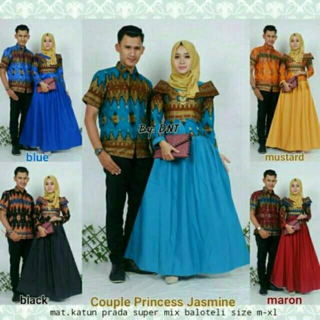 Bayar Di Tempat Gamis Batik Kombinasi Kain Polos Kebaya Modern Model Gamis Couple Jasmin