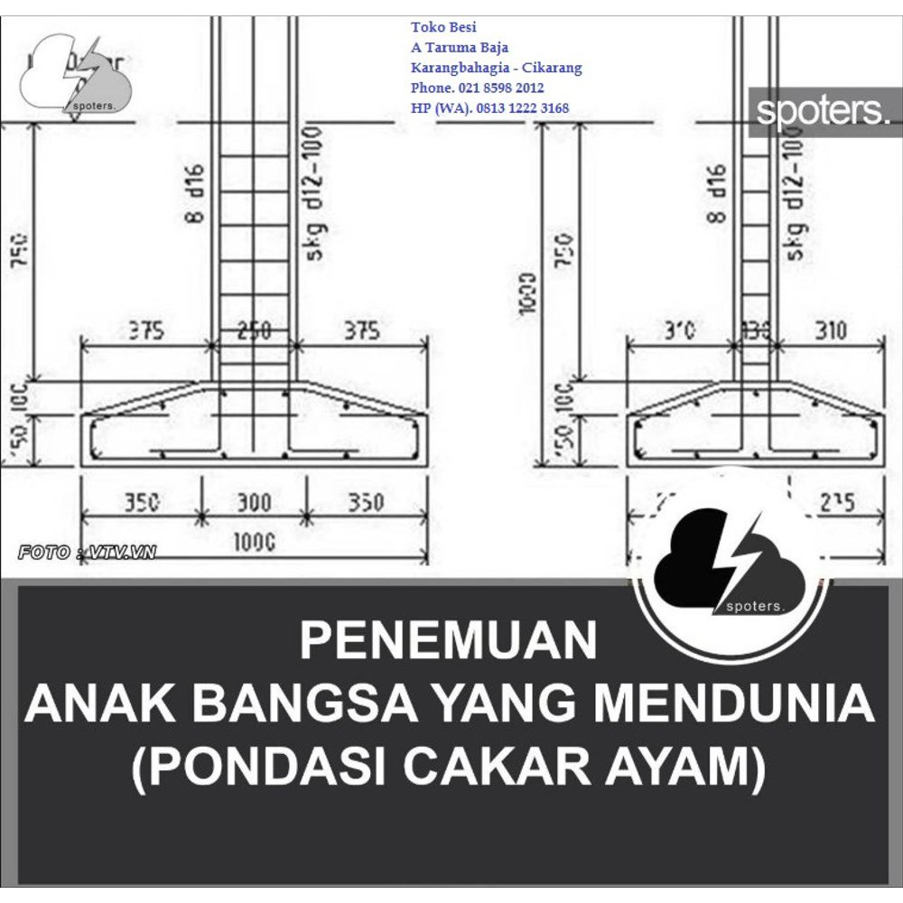 Jual Pondasi Cakar Ayam 60 X 60 Besi 10 Ulir Full Limited Shopee Indonesia Bentuk pondasi cakar ayam