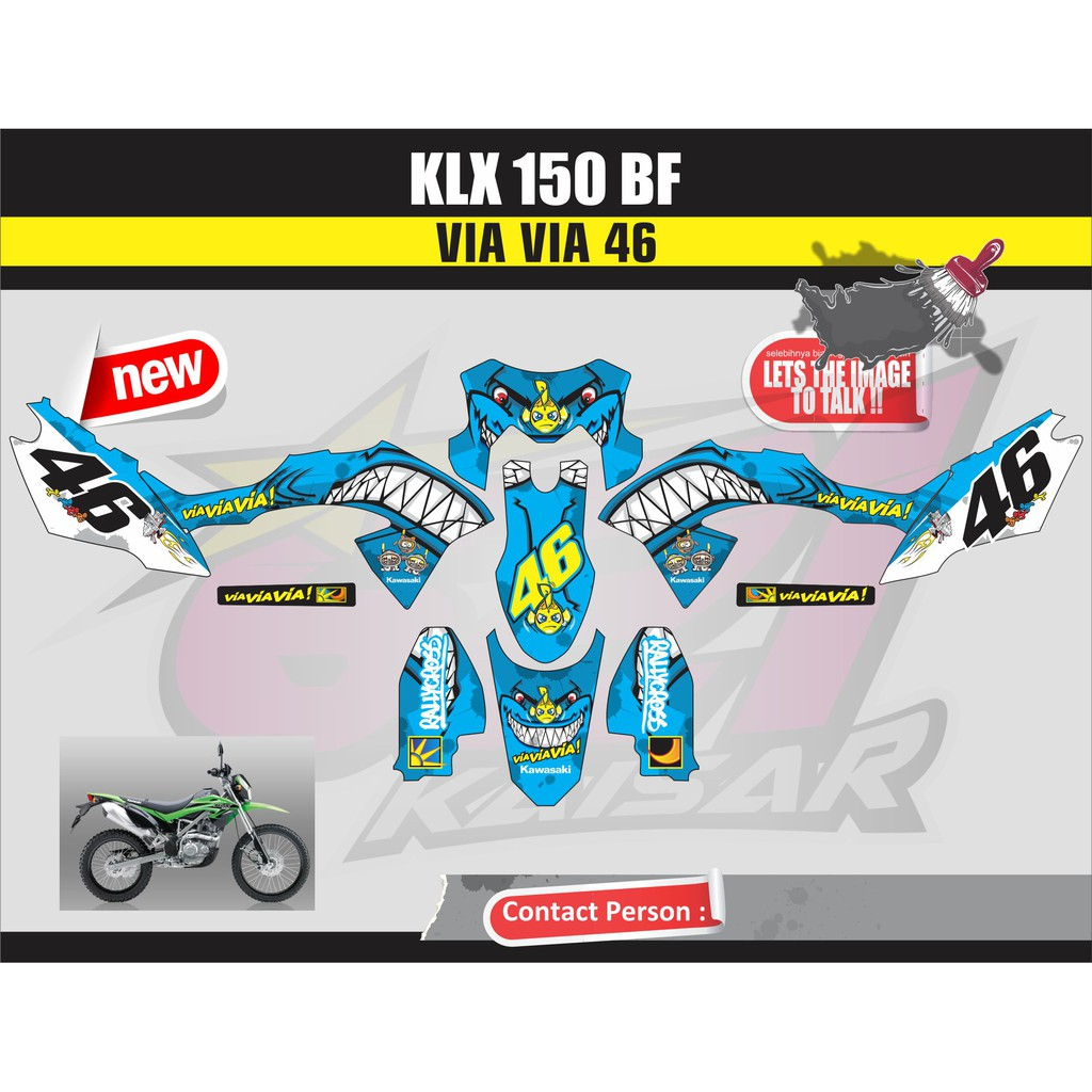 STICKER STRIPING STICKER MOTOR KLX 150 BF Qlty.A VIA VIA BIRU | Shopee Indonesia
