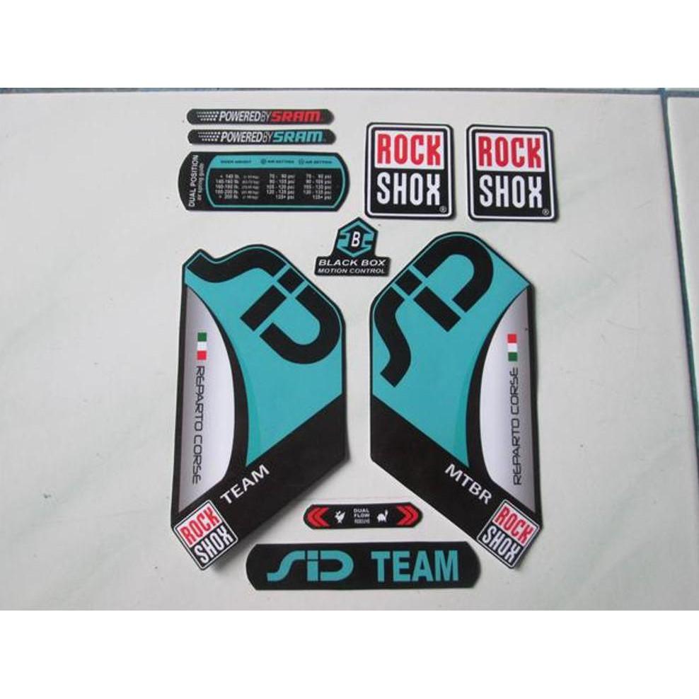 Rock Shox SID Team Mountain Bike Cycling Factory Decal Kit Sticker Turquoise