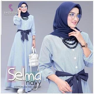 SELMA - Baju Maxi Dress Cewek Kekinian Gamis Syari Murah Wanita Lengan Panjang Tanah Abang