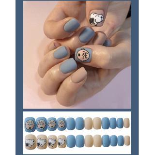 24 Kotak Stiker Kuku Palsu Motif Snoopy Warna Biru Muda Dapat Dilepas 3