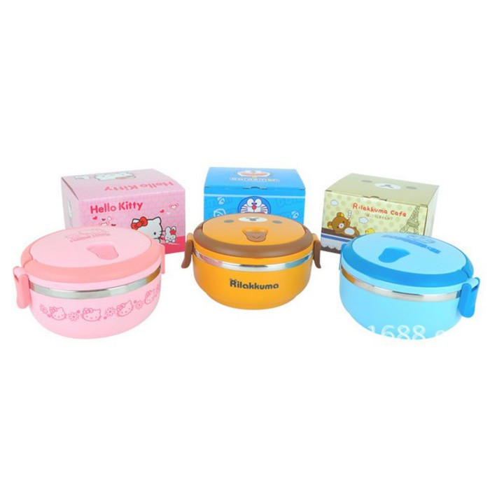 Rantang Susun 1 Bulat Stainles Steel LUNCH BOX HELLO KITTY DORAEMON RILAKUMA Bento box brunch set