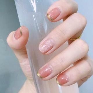 Kuku palsu false fake french nails R085 marble glitter korean japan nail art nude free lem import thumbnail