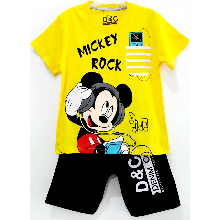 Setelan Kaos Anak Kartun MICKEY MOUSE Cowok Laki Laki 1 10tahun