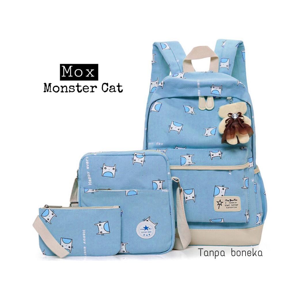 Backpack Bunny Pita Set 3in1 Tas Sekolah Remaja Cewe Casual Set3in1 Jalanjalan Cute Girly Murmer Shopee Indonesia