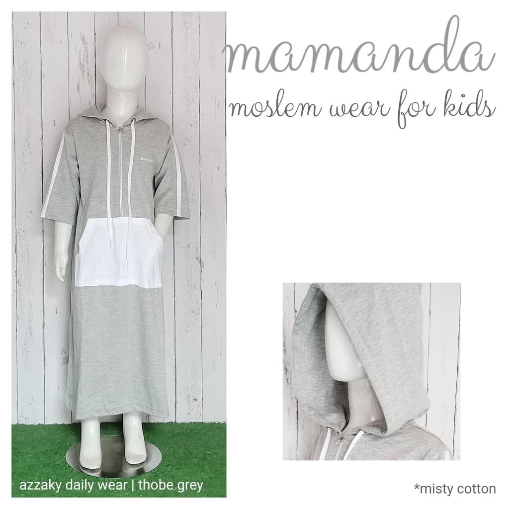 Thobe/Jubah Hoodie anak Grey Azzaky Daily Wear by Mamanda