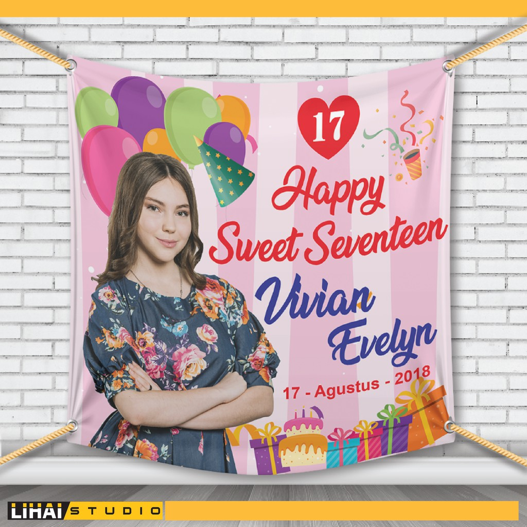 Backdrop Background Banner Spanduk Ulang Tahun Sweet Seventeen Shopee Indonesia
