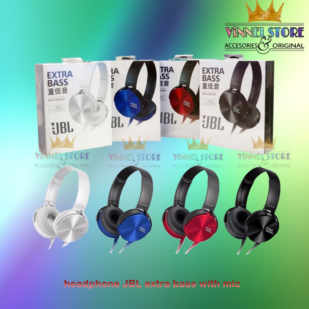 ... Headset Headphones JBL XB450 Extra Bass With Mic - stereo headphones support semua hp ...