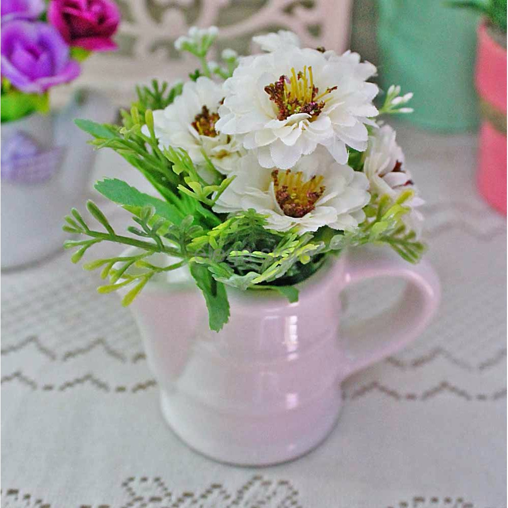 Indah Pajangan Bunga Artificial Pot Vas Keramik Ceramics Flower C4
