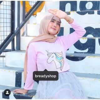 T-Shirt / Tumblr Tee / Kaos Wanita Lengan Panjang Unicorn Besar Warna Pink