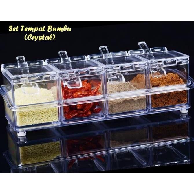Tempat Bumbu Dapur 6 in 1 Modern Rak Box 6in1 Kotak 1 Set Plus Holder |