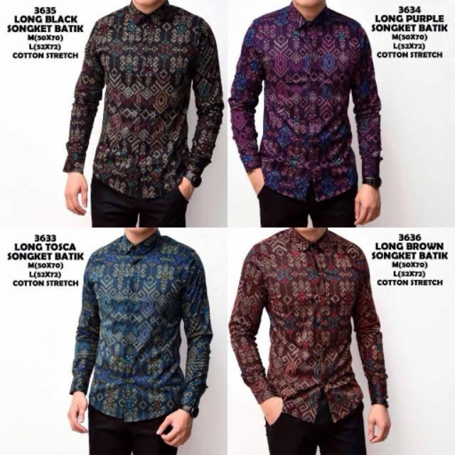 Kemeja Batik Pria Sutra: Kemeja Batik Lengan Panjang Baju Batik Songket Pria