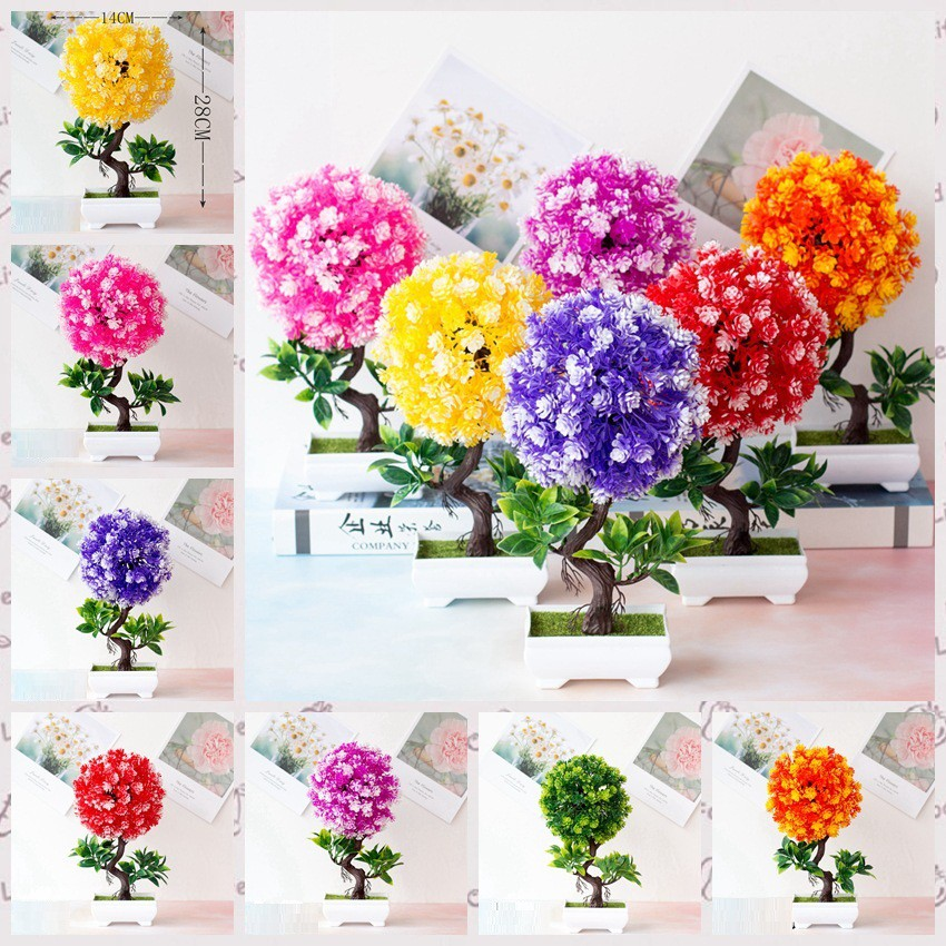 Bunga Pot S Jenis Pohon Kecil Bonsai Tanaman Plastik Bunga Palsu Pot Bunga Hiasan Grosir Shopee Indonesia