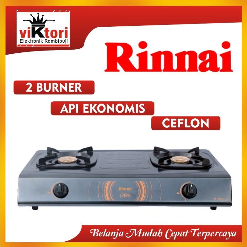 RINNAI KOMPOR GAS 2 TUNGKU RI522C / KOMPOR RINNAI HITAM API EKONOMIS / RINNAI 2 TUNGKU